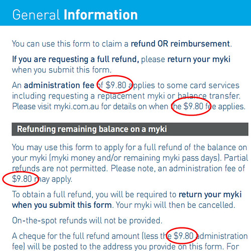 Myki refund form - still mentions $9.80 fee (that was abolished in January)