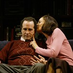 Jerry Kissel as Daniel and Carmen Roman as Sonia  in the Huntington Theatre Company's world premiere production of Sonia Flew by Melinda Lopez, at the Calderwood Pavilion at the BCA. Part of the 2004-2005 season. Photo: T. Charles Erickson