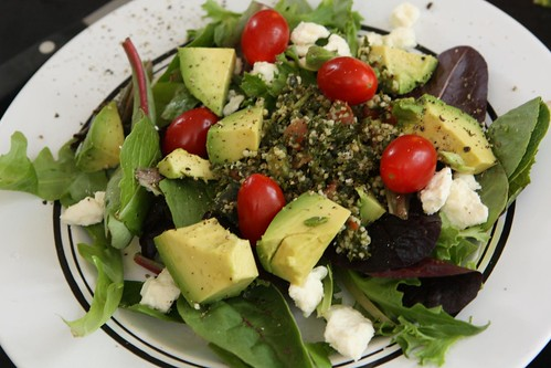 Mixed Baby Greens with Avocado, Tomato, Feta, and Tabouli
