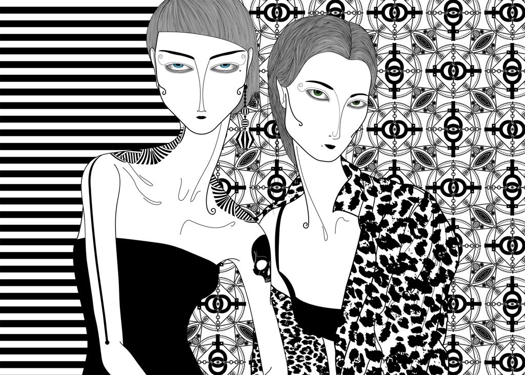 Só nós duas, 2012, desenho digital impressão fine art (70 x 50 cm)