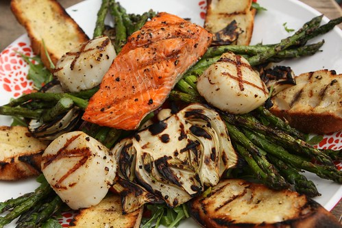 Grilled Wild Salmon and Sea Scallops with Fennel, Asparagus, Grilled Bread, and Salad