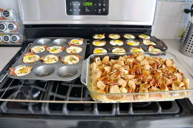 Egg + toast cups, Baked amaretto french toast
