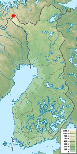 Un mapa geográfico de Finlandia