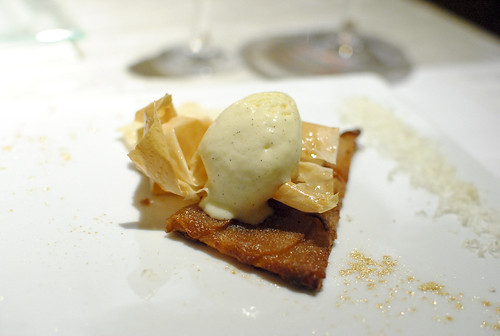 "Pacific Rose Apple Tart ""roti,"" Vanilla-Calvados Ice Cream, Roquefort Papillon"