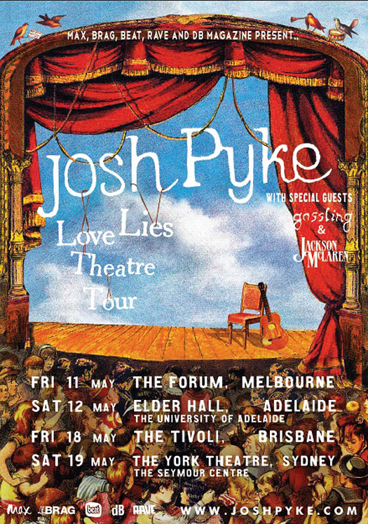 Josh Pyke's 'Love & Lies' Tour Poster
