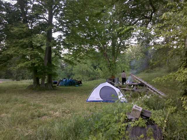 bike camping site near Abington, IN