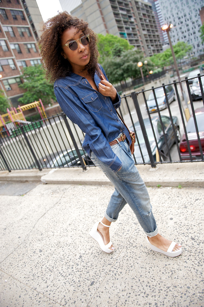Joe Fresh platform sandals and boyfriend jeans