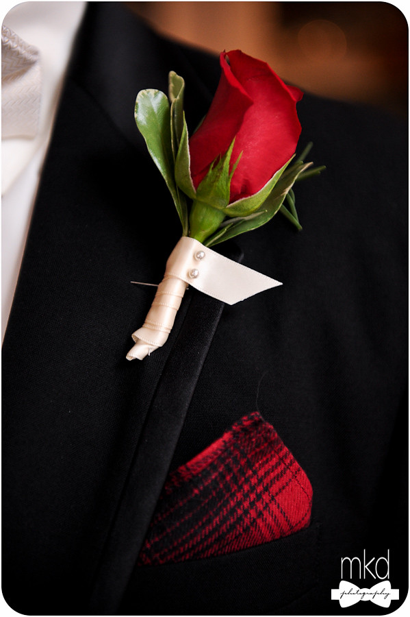 Red Rose boutonniere with Red Flanel pocket square
