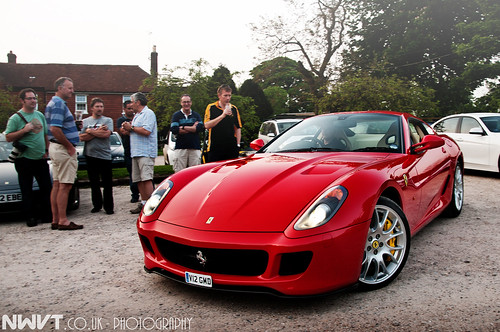 Red Ferrari 599 GTB Front Quarter Shot At PH Southcoast Pub Meet 24th May 2012 at The Millburys
