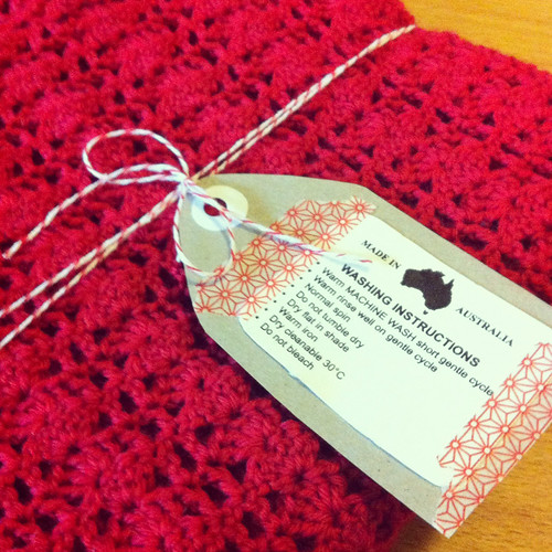 "red crocheted scarf - ""claudia scarf"" - in red 4 ply wool"
