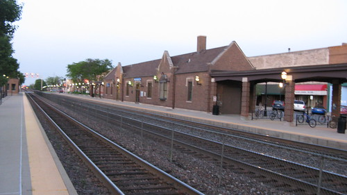 The Amtrak / Metra La Grange Road commuter rail station at twilight.  La Grange Illinois USA. May 2012. by Eddie from Chicago