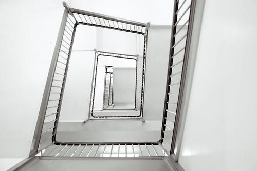 [フリー画像素材] 建築物・町並み, 階段, モノクロ ID:201206031600
