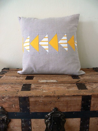 Flying Geese Pillow Cover in Yellow by Jenny Bartoy
