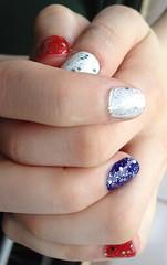 cosmetics(0.0), hand(1.0), nail care(1.0), finger(1.0), nail polish(1.0), glitter(1.0), nail(1.0), manicure(1.0),