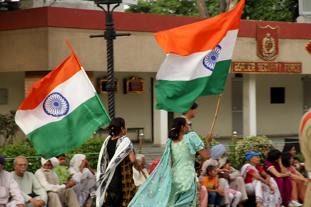 Wagah Border Indian Flags