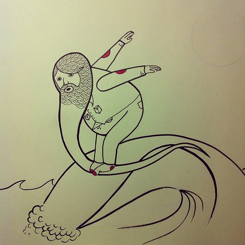 Long Beard Surfer pen & ink doodle. by Michael C. Hsiung