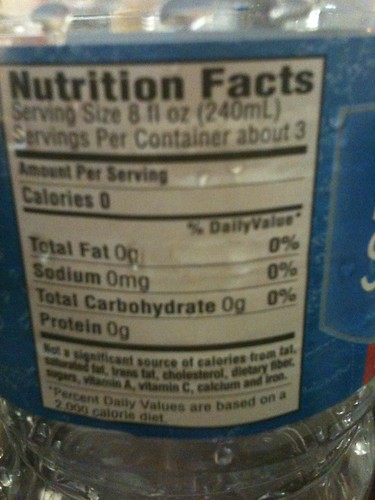 Water nutrition facts