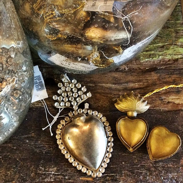 I found these gorgeous ex voto sacred heart containers at for Galangal living