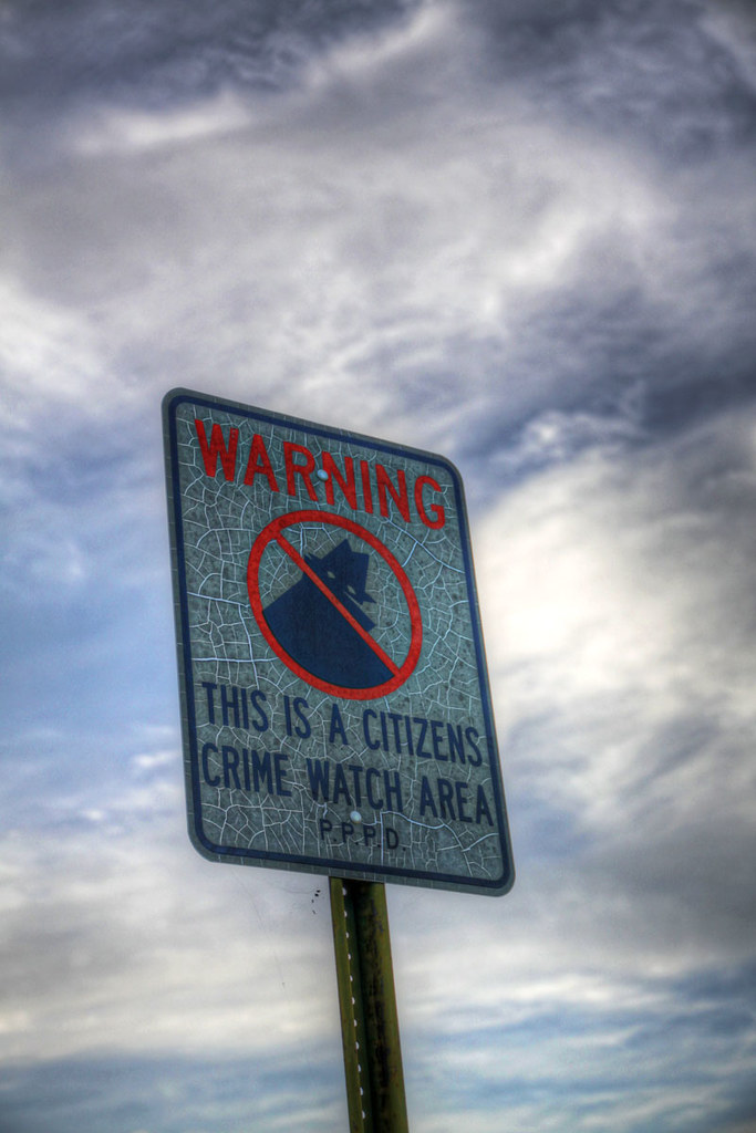 neighborhood watch sign HDR