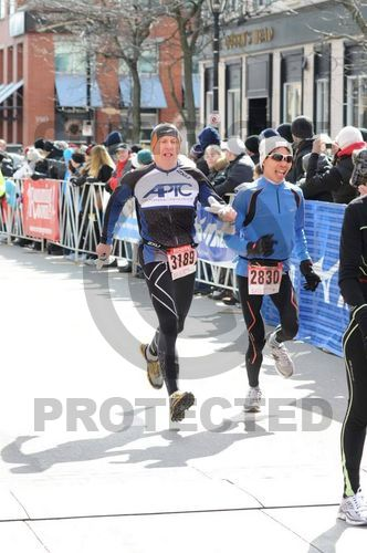 Pipping the older runner at the finish!