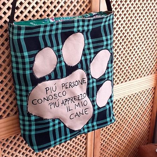 Piú persone conosco piú apprezzo il mio cane, custom bag for @elibau