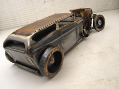 Hot Rod Sedan Metal Art Sculpture