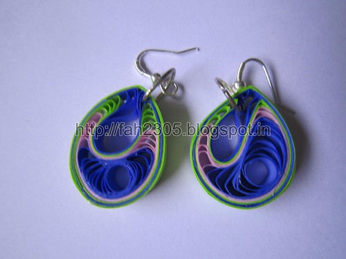 Handmade Jewelry -  Paper Teardrops Earrings (Green and Blue) (1) by fah2305