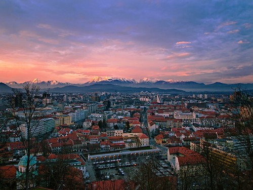city pink blue houses light sunset mist alps castle buildings day view cloudy capital north slovenia ljubljana alpe kamnik savinja savinjske kamniško