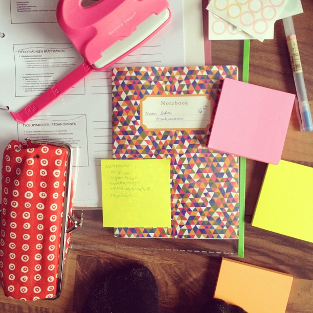 #neon #notebook #marimekko #pink #studying #avoidingstudying