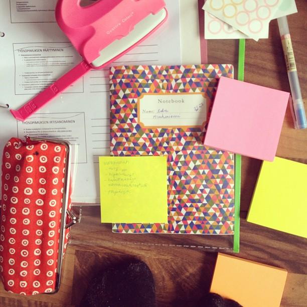 #neon #notebook #marimekko #pink #studying #avoidingstudying
