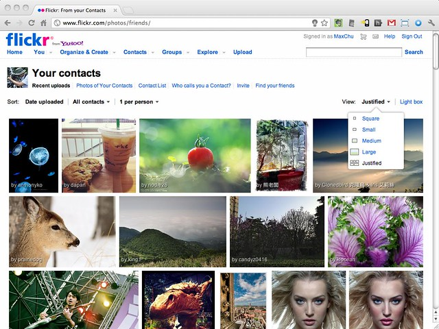 Flickr Justified View : Your Contacts
