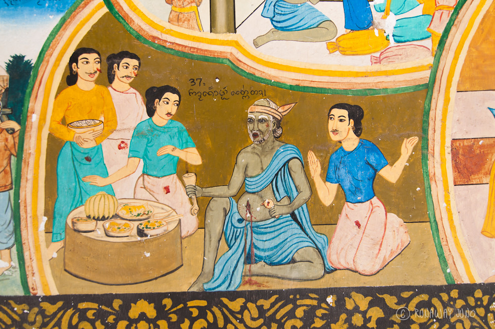 Wall painting at the temple next to  Octagonal Pavilion