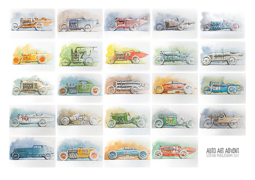 Auto Art Advent 2011 print by Stefan Marjoram