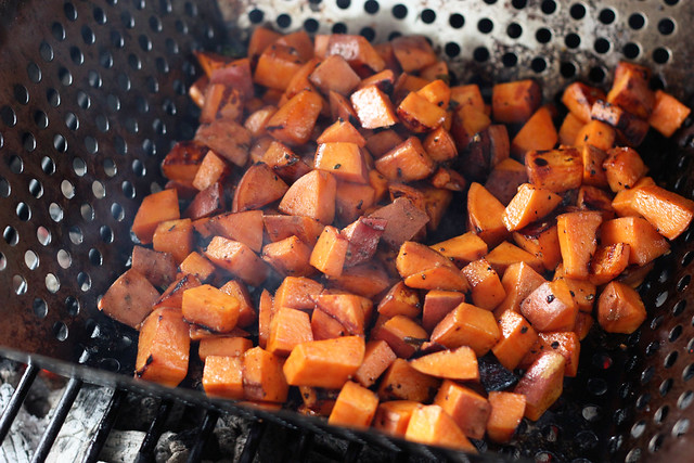 Grilled Sweet Potato and Wilted Kale Salad - Gluten-free + Vegan