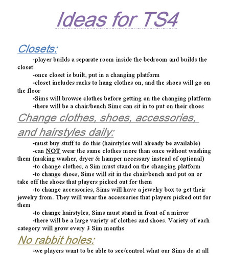 Ideas for TS4
