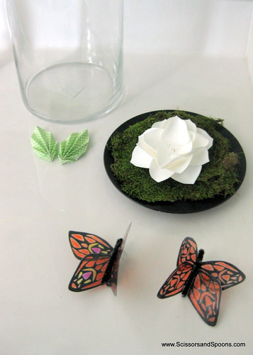DIY Butterfly Jar Adding Flower