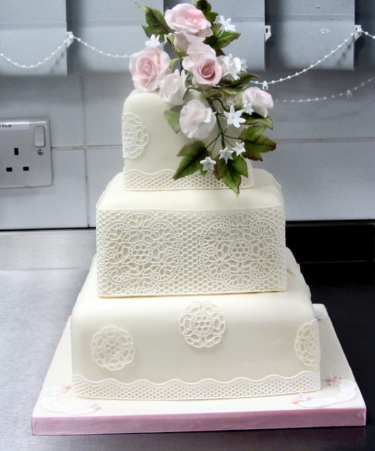 3 Tier Square Wedding Cake With Sugarveil Roses And Sweet Peas