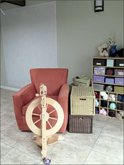 Front view of my spinning set-up