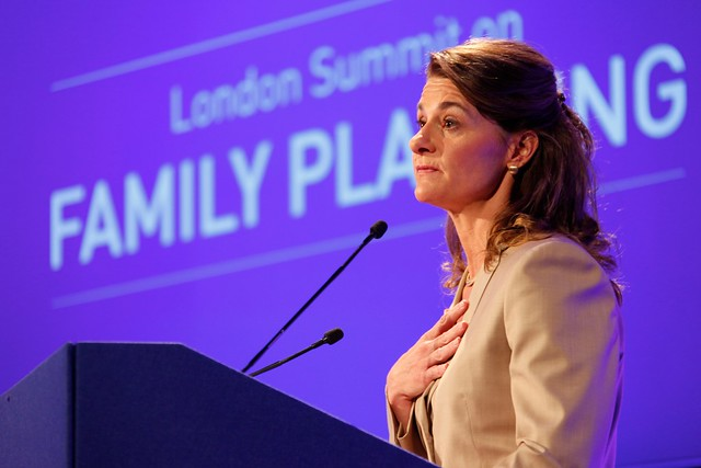 Melinda Gates speaking at the opening of the London Summit on Family Planning