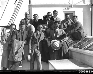 American baseballers gathered at a Movietone event on board SS SIERRA