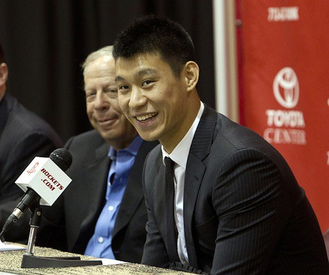 July 19th, 2012 - Jeremy Lin answers questions from the press next to Rockets owner Leslie Alexader
