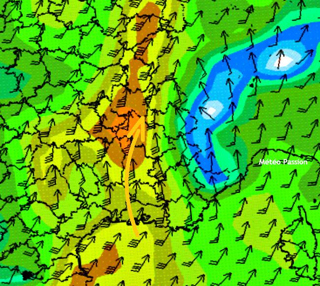 carte du vent en altitude lors du foehn et de la nuit tropicale à Grenoble les 22 et 23 juillet 2009 météopassion
