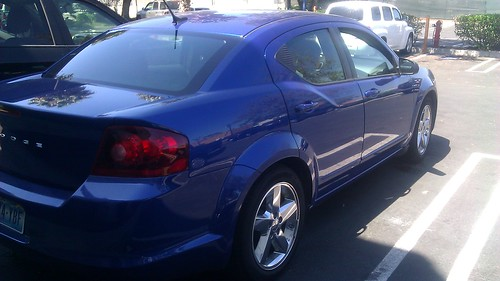 electric blue dodge avenger - rental