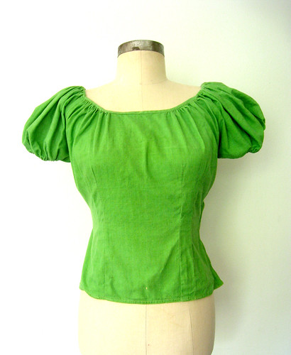 Lucky Bright Green Puff Sleeve Senorita Blouse, vintage 50s