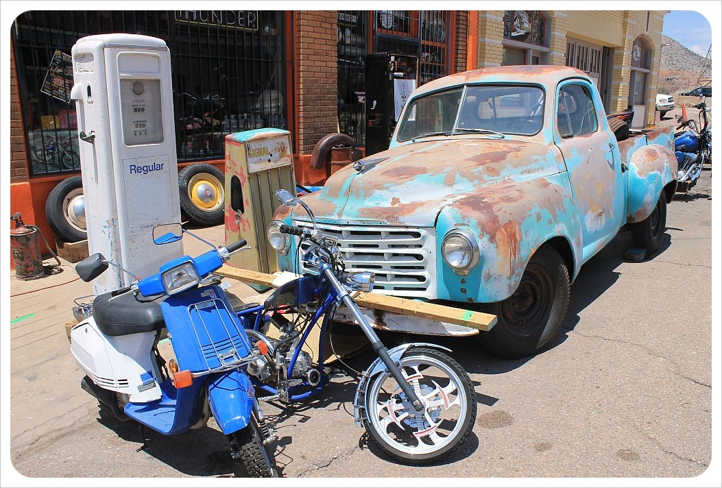 vintage car and gas station in bisbee