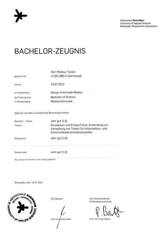 Bachelor-Zeugnis