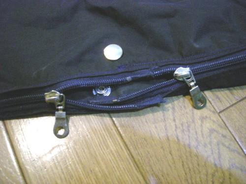 自作輪行袋のファスナー
