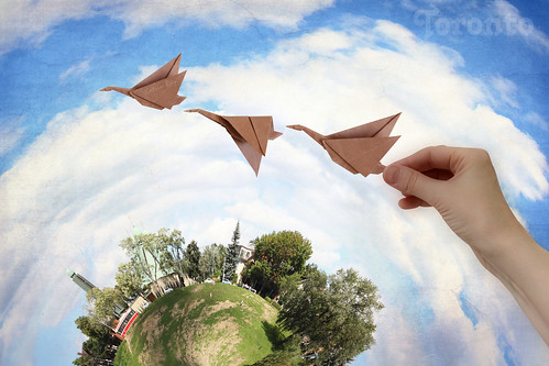 Byzantine Side of Toronto Planet. August Geese in Origami Flight
