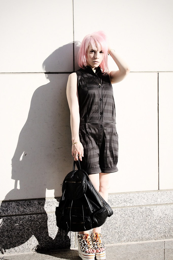 jailhouse chic tom scott jumpsuit davines pink hair leather backpack