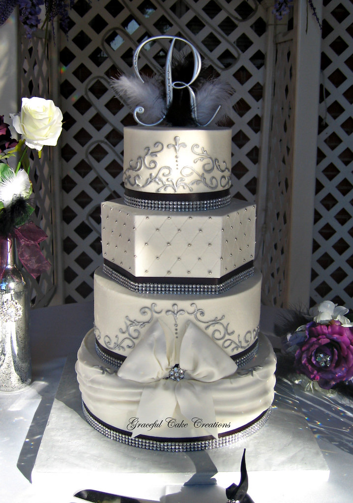 elegant black white and silver buttercream wedding cake with bling a photo on flickriver. Black Bedroom Furniture Sets. Home Design Ideas